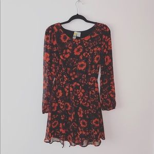 Mimi Chica | Red Floral Fit & Flare Dress | Sz M